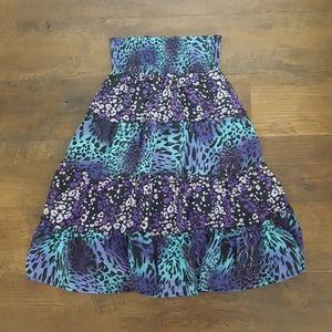 Purple cheetah-print tube top dress